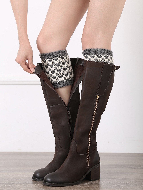 Wavy Stripe Shape Knitted Boot Cuffs