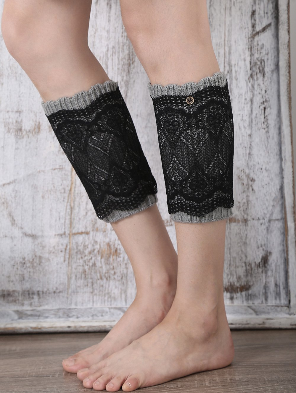 Button Double-Deck Lace Knitted Boot Cuffs