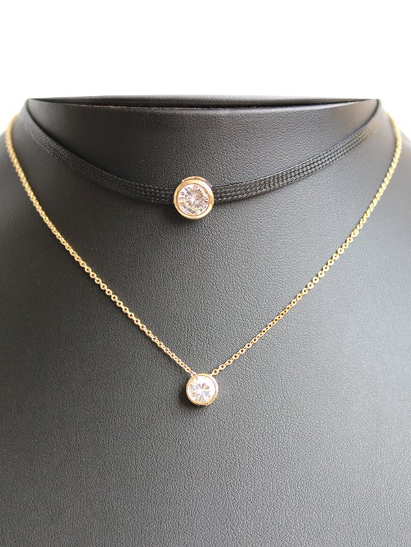 Faux Zircon Leather Choker Necklace