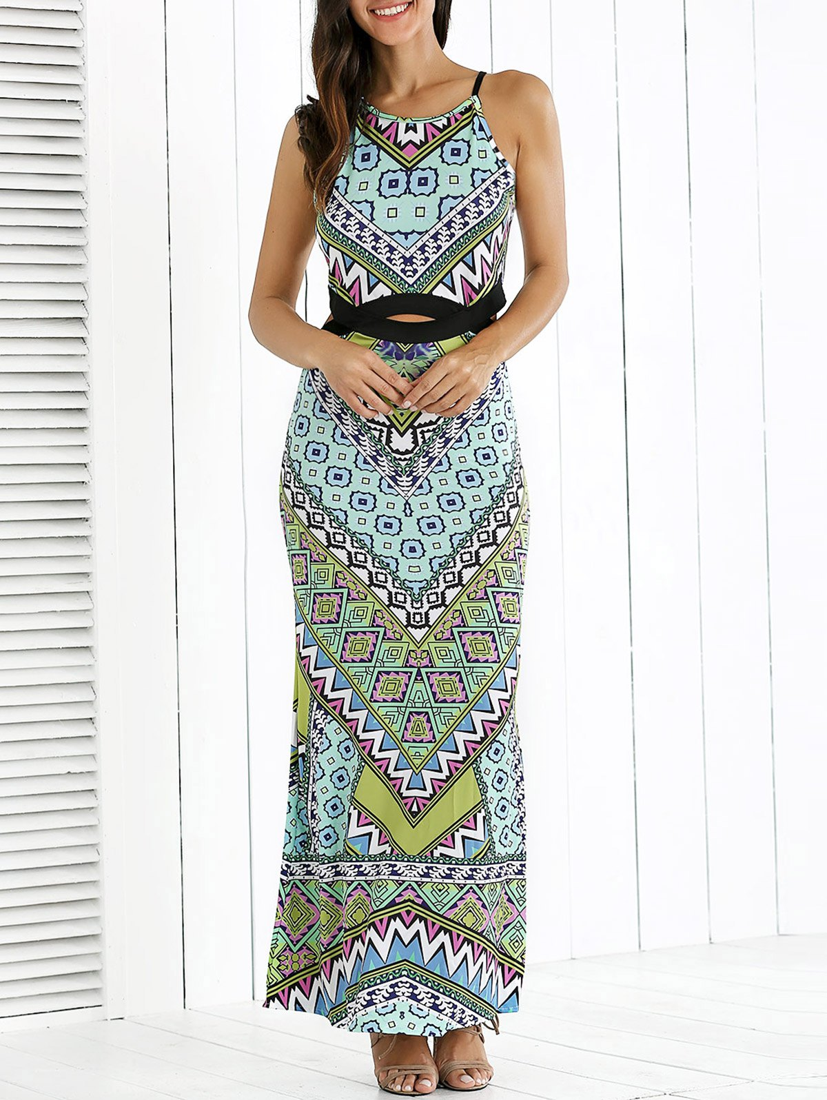 Printed Waist Cutout Maxi Dress