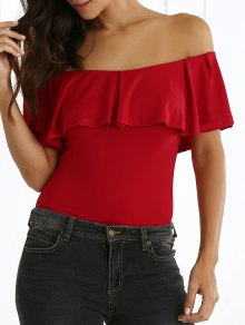 Off The Shoulder Ruffle Tee - Red