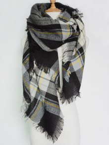 Plaid Pattern Fringed Square Scarf - Black Grey