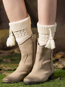 Tassel Flanging Knitted Boot Cuffs - White