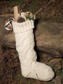 Buy Hemp Flowers Knitted Christmas Sock - WHITE