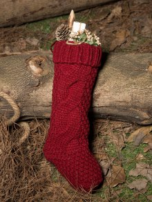 Buy Hemp Flowers Knitted Christmas Sock - WINE RED