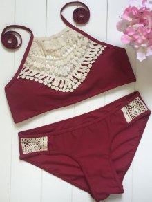 High Neck Lace Spliced Bikini Set - Wine Red