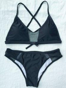 Bikini con Tirantes de Color Solido y Malla