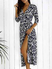 Floral Printed Plunging Neck Maxi Dress
