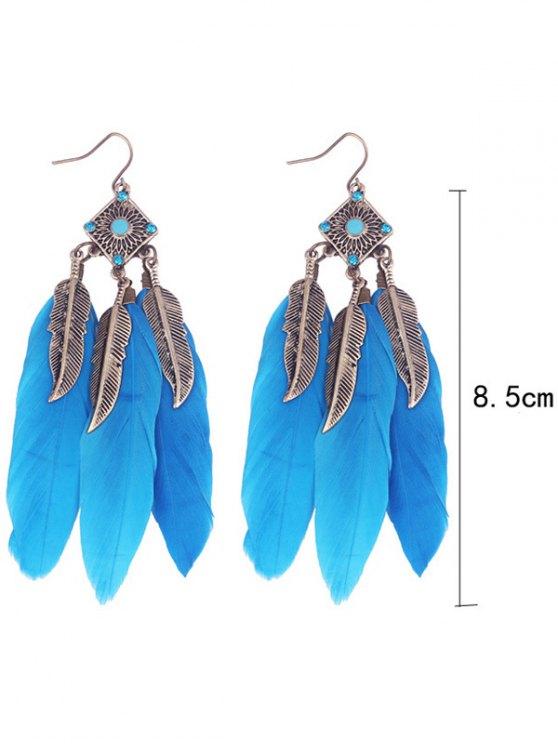 Geometric Alloy Leaf Feather Drop Earrings - BLUE  Mobile