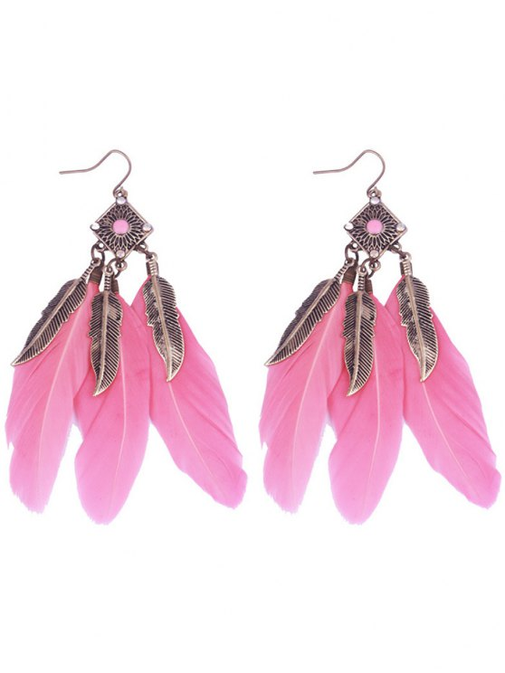 ladies Geometric Alloy Leaf Feather Drop Earrings - PINK