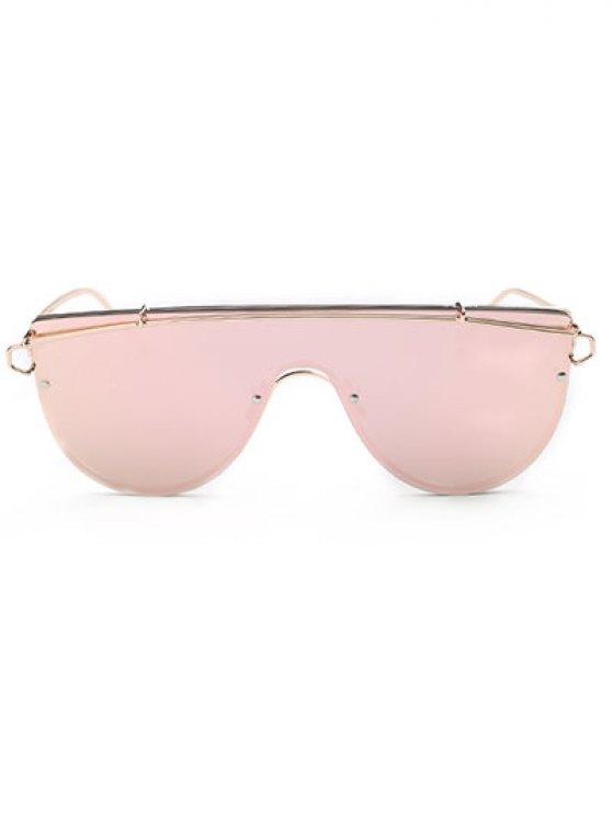 Cross-Bar Mirrored Sheild Sunglasses - PINK  Mobile
