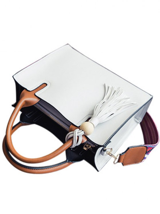 Tassels Color Block Bead Tote Bag - LIGHT GRAY  Mobile