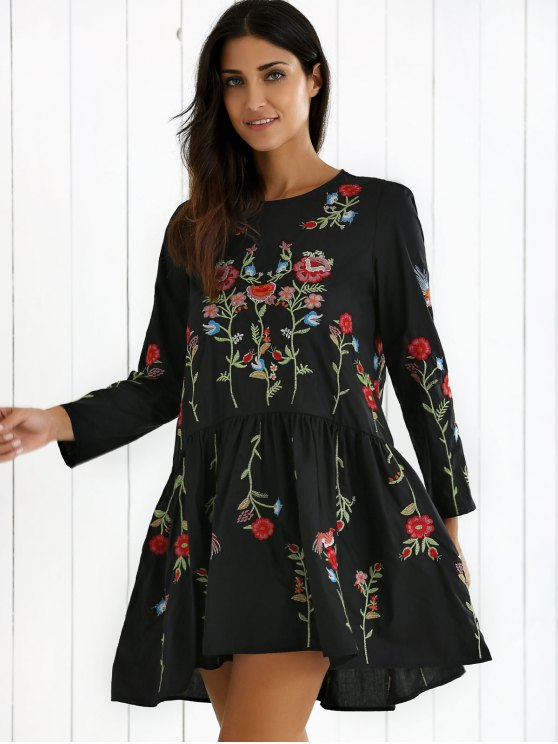 Floral Embroidered Drop Waist Dress - BLACK S Mobile