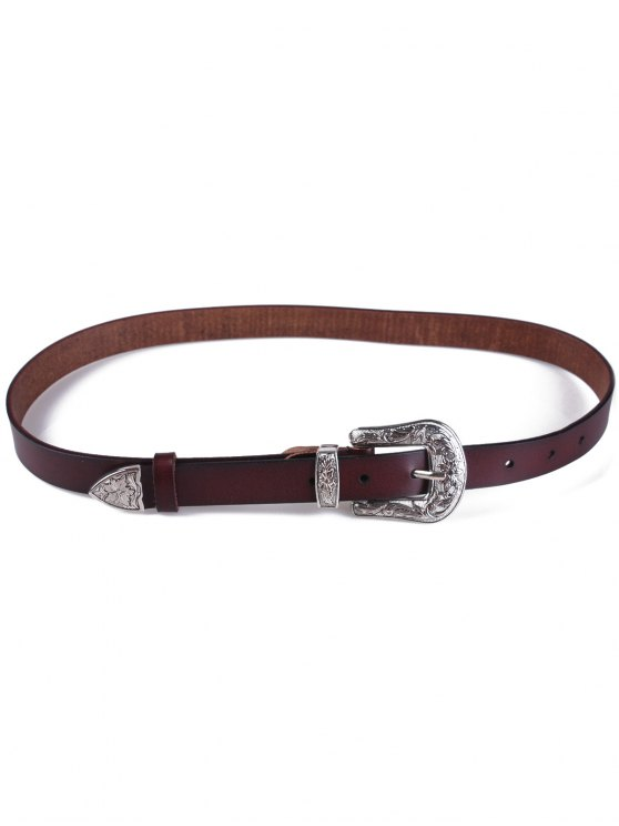 Retro Carve Pin Buckle Belt - COFFEE  Mobile