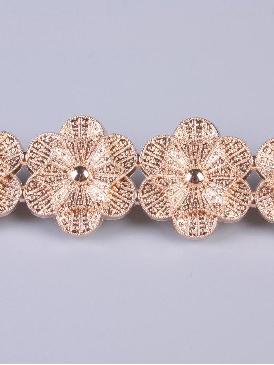 Flowers Elastic Skinny Belt - GOLDEN  Mobile
