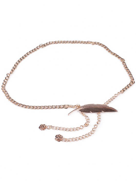 Feather Metal Waist Chain - GOLDEN  Mobile