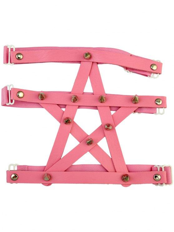shop Pentagram Faux Leather Leg Chain - PINK