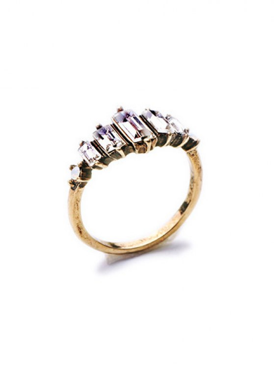 affordable Faux Crystal Ring - GOLDEN ONE-SIZE