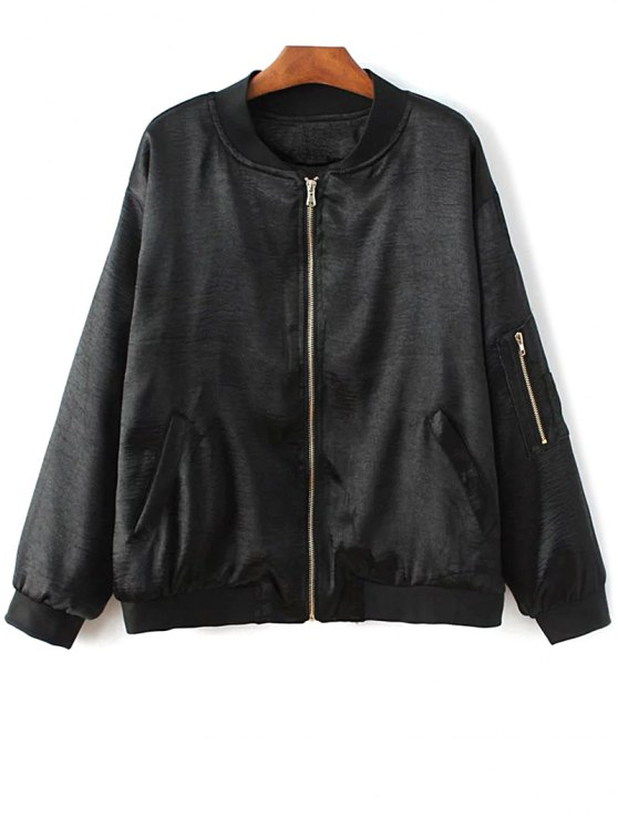 Fitted Zipped Bomber Jacket - BLACK M Mobile