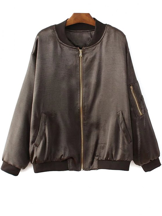 Fitted Zipped Bomber Jacket - DEEP BROWN S Mobile