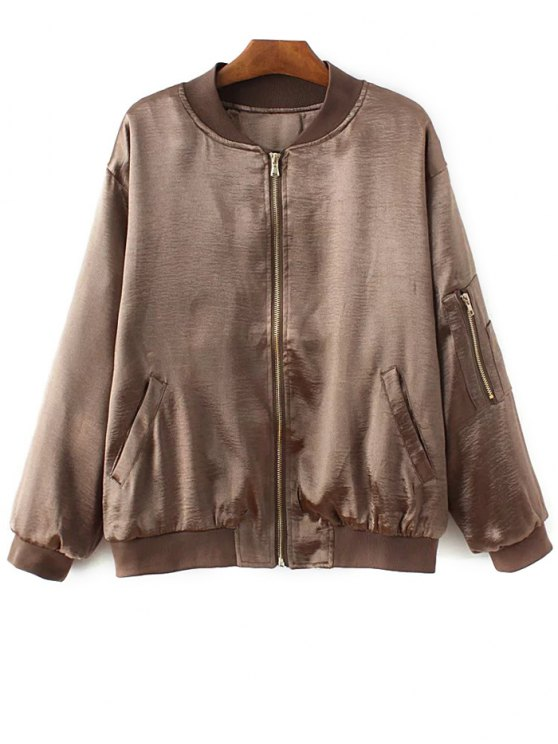Fitted Zipped Bomber Jacket - GOLD BROWN L Mobile