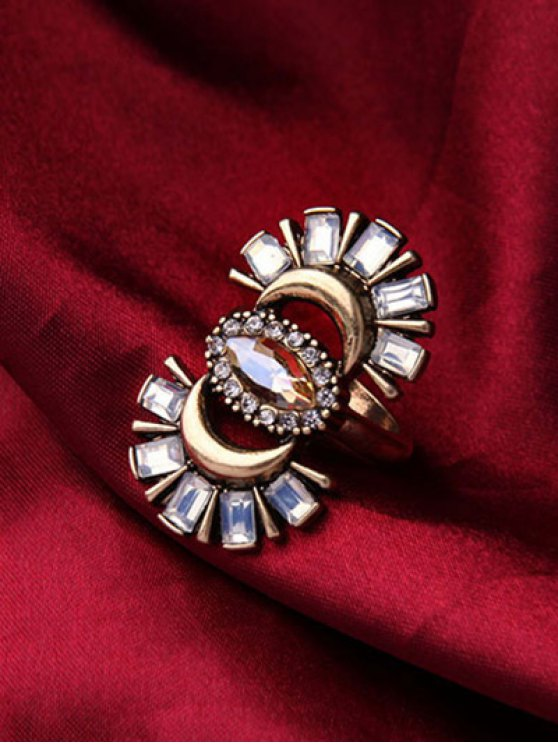 Rhinestone Crescent Ring - GOLDEN ONE-SIZE Mobile