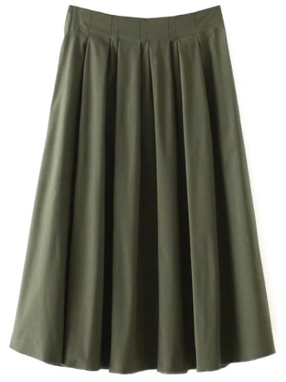 A Line Midi Skirt - ARMY GREEN L Mobile