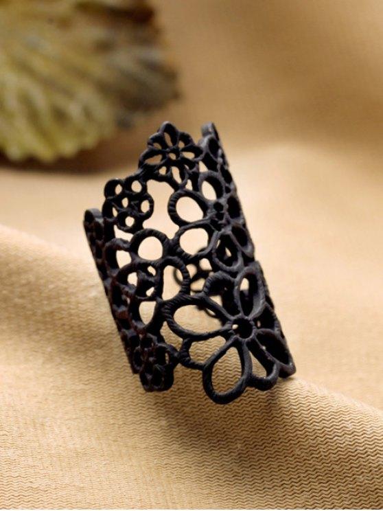 Hollowed Flower Ring - BLACK  Mobile