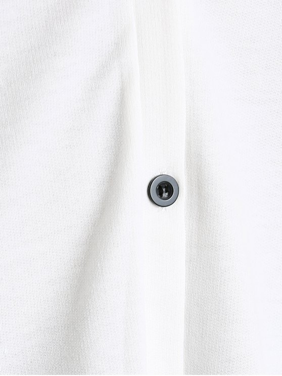 Plunging Neck Button Down Beaded Cardigan - WHITE L Mobile