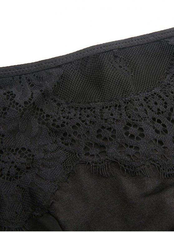 Lace Mesh High Rise Bra Set - BLACK S Mobile