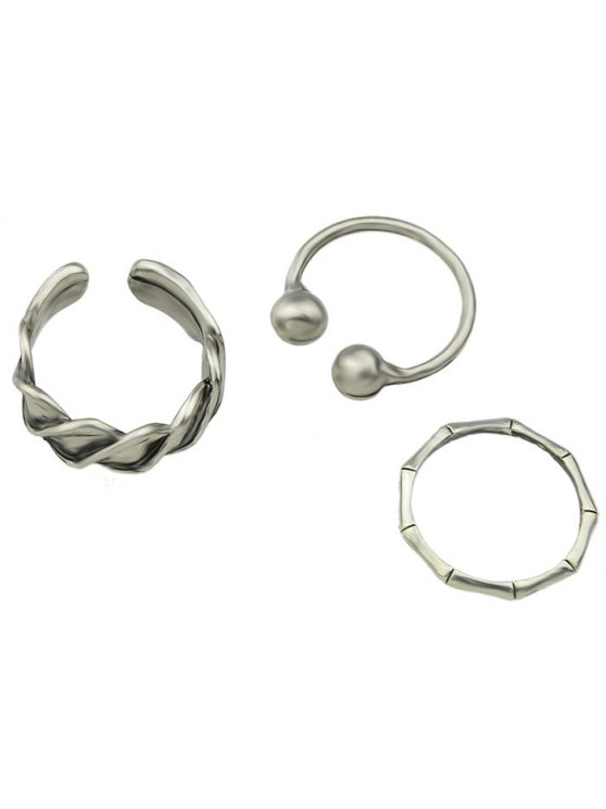 fashion Vintage Cuff Alloy Jewelry Rings Set - SILVER ONE-SIZE
