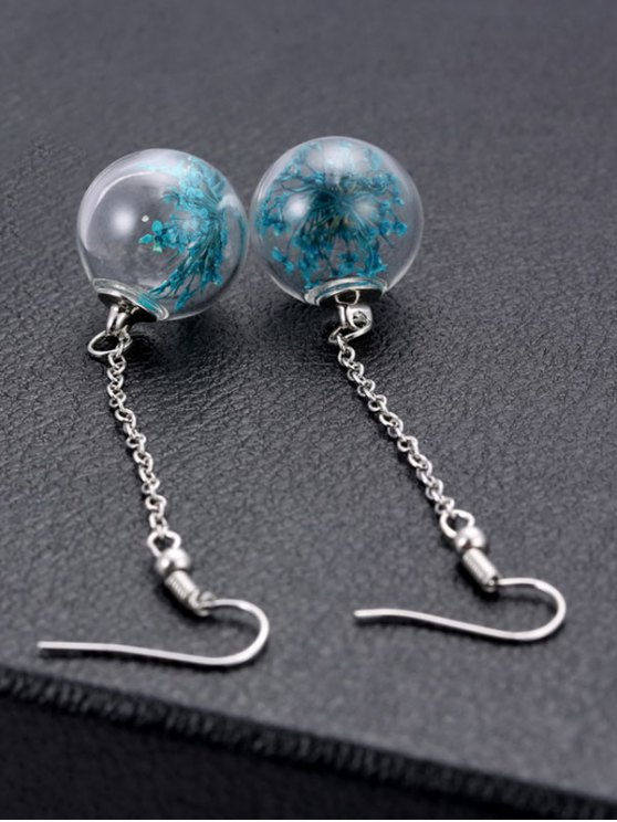 Glass Dry Floral Drop Ball Earrings - BLUE  Mobile