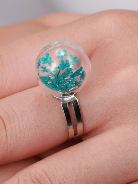 Glass Dry Floral Ball Ring - BLUE ONE-SIZE Mobile