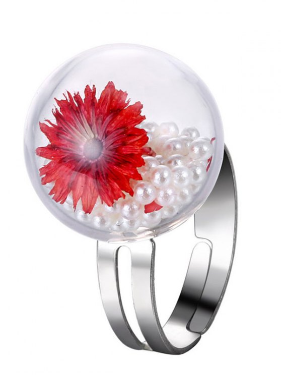 unique Faux Pearl Dry Flower Glass Ring - RED ONE-SIZE