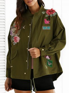 Embroidered Stand Neck Rivet Patchwork Coat - Army Green M