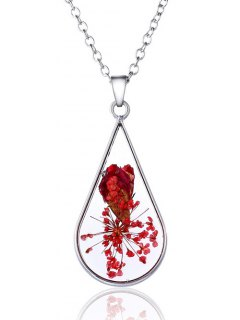 Dry Flower Adorn Water Drop Necklace - Silver