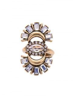 Rhinestone Crescent Ring - Golden One-size