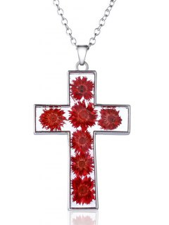 Glass Dry Blossom Cross Pendant Necklace - Red