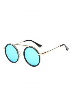 Cross-Bar Mirrored Round Sunglasses - Light Blue