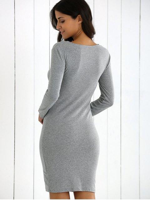 sale V-Neck Bodycon Sweater Dress - GRAY S Mobile
