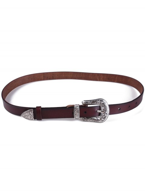 women's Retro Carve Pin Buckle Belt - COFFEE  Mobile