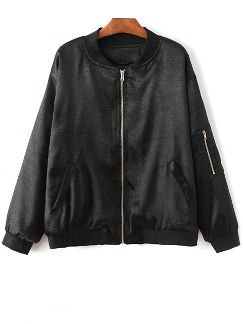 lady Fitted Zipped Bomber Jacket - BLACK M Mobile