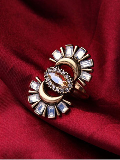 ladies Rhinestone Crescent Ring - GOLDEN ONE-SIZE Mobile