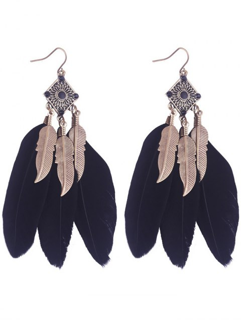 lady Geometric Alloy Leaf Feather Drop Earrings - BLACK  Mobile