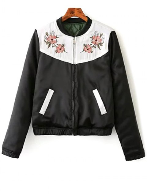 sale Quilted Embroidered Thermal Jacket - BLACK M Mobile