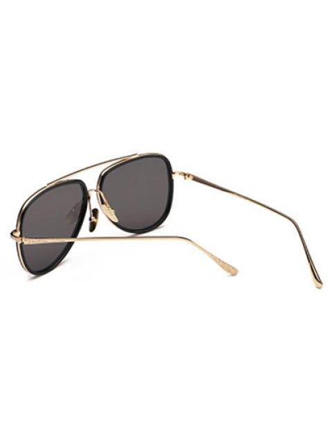 fashion Double Rims Pilot Sunglasses - BLACK  Mobile