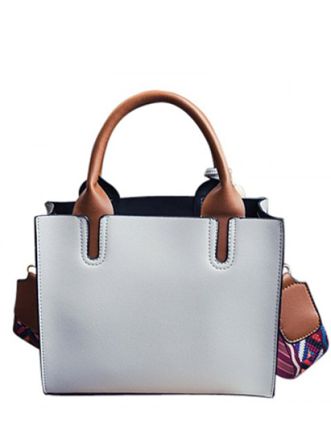 affordable Tassels Color Block Bead Tote Bag - LIGHT GRAY  Mobile