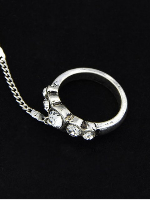 trendy Faux Opal Rhinestone Bracelet With Ring -   Mobile