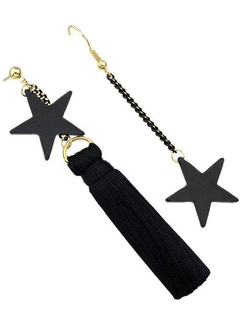 best Asymmetric Tassel Chain Pentagram Earrings - BLACK  Mobile