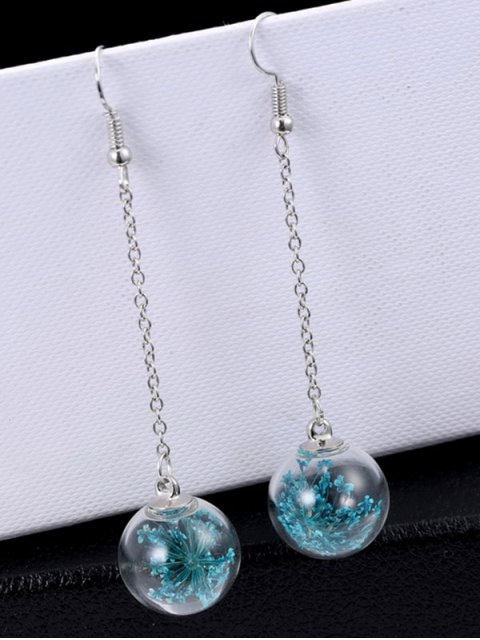outfit Glass Dry Floral Drop Ball Earrings - BLUE  Mobile
